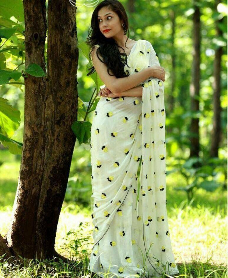 Luminous Georget Fancy Thread Work Designer Saree (White)