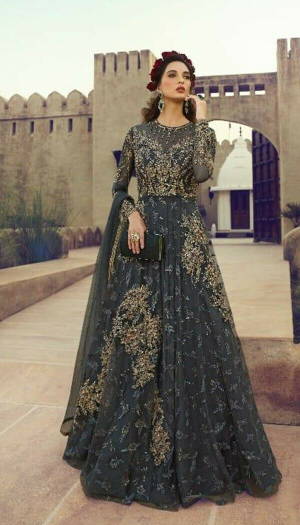 Magnetic Black Colored With Net Embroidary Semi-stitch Gown