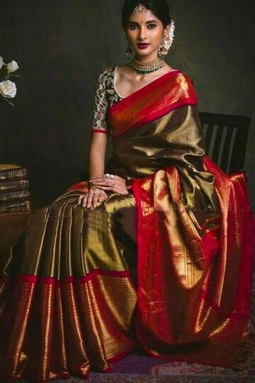 Magnificant Red And Copper Color Soft Silk Designer Sarees