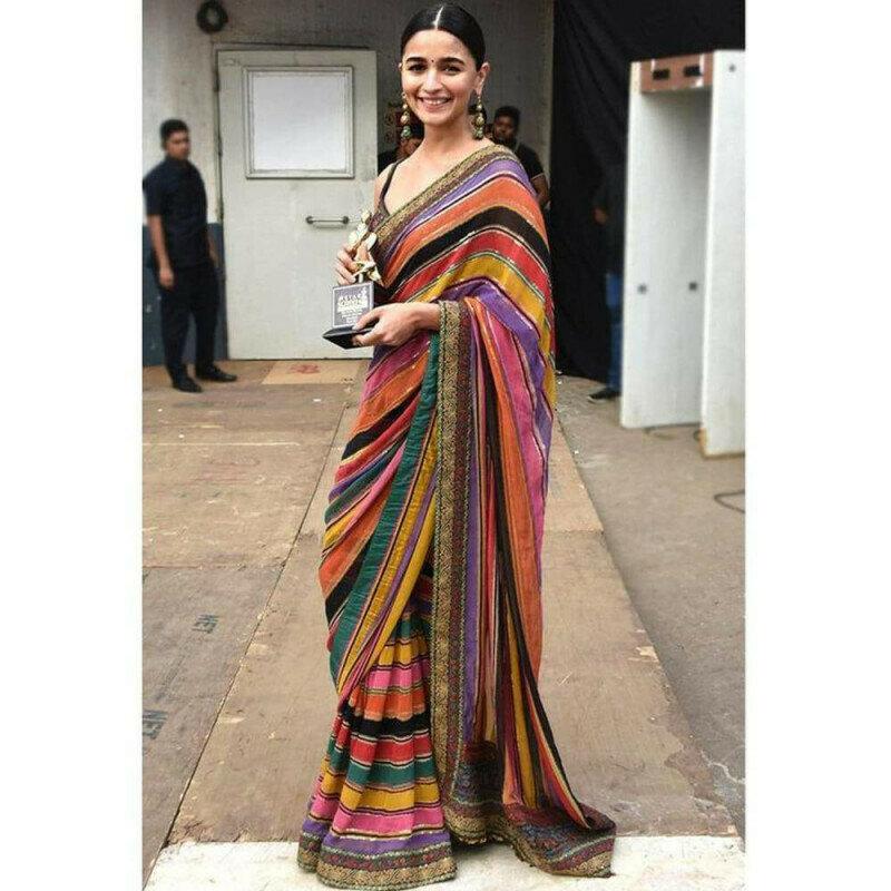 Magnificent Aliya Bhatt Fame Printed Georgette Designer Fancy Saree Online