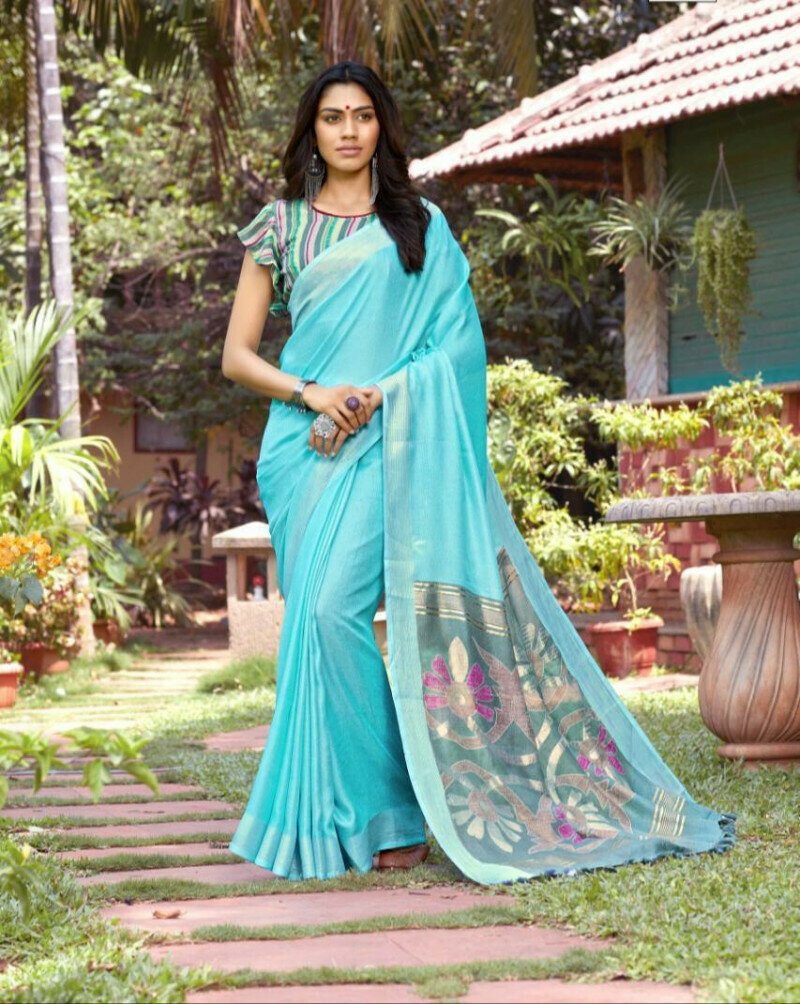 Magnificent Sky Blue Colored Function Wear New Linen Printed Saree For Women