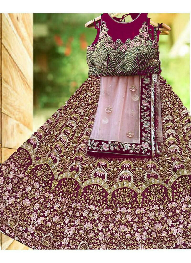 Maroon Banglori Satin Silk Royal Looks Bridal Lehenga Choli With Mono Net Dupatta