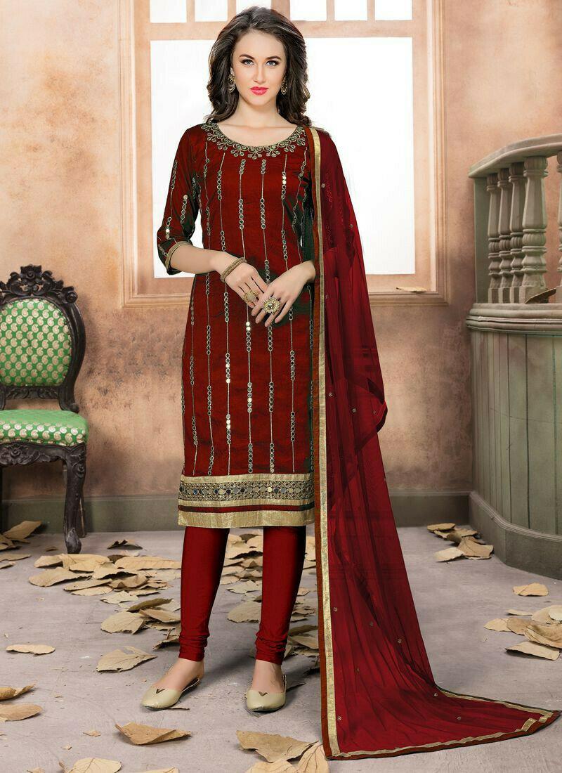Maroon Churidar Aanaya Salwar Suit