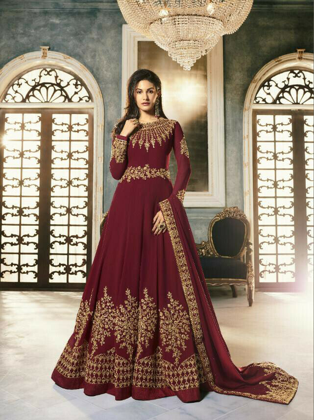 Maroon Color Embroidery Work Anarkali Suit