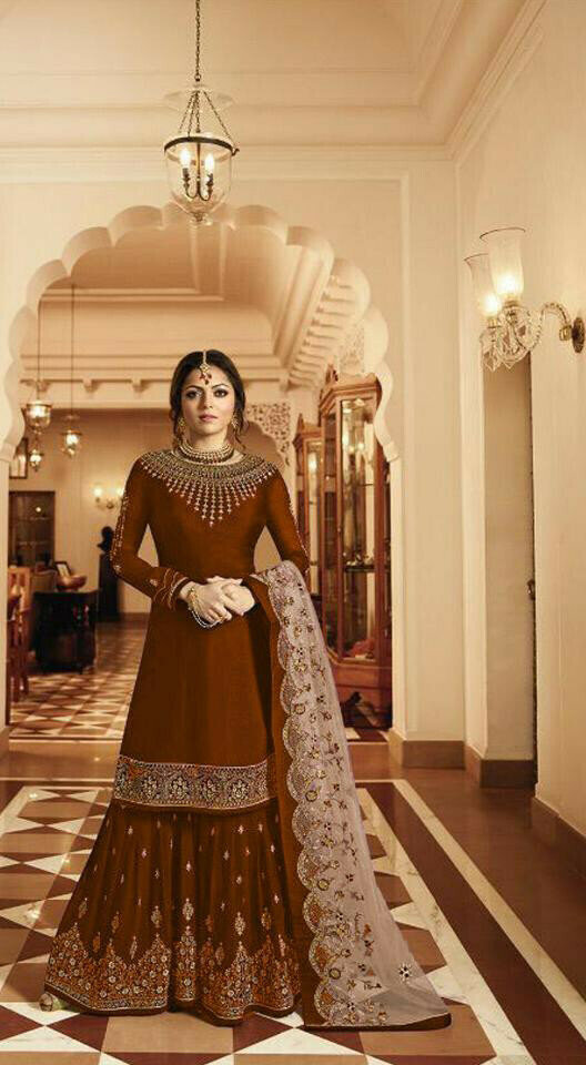 Maroon Color Sharara Suit In Surat