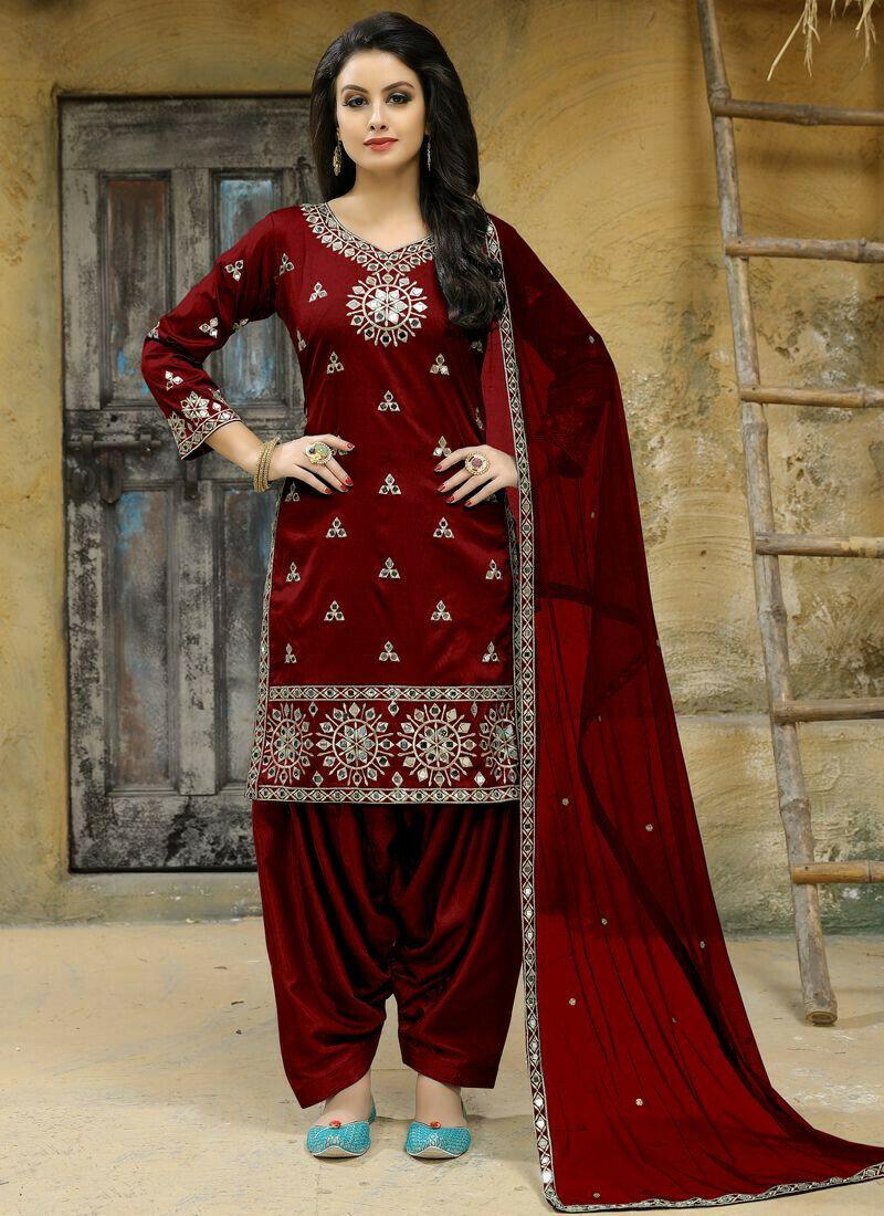Maroon Tafeta Silk Designer Aanaya Latest Style Punjabi Suit