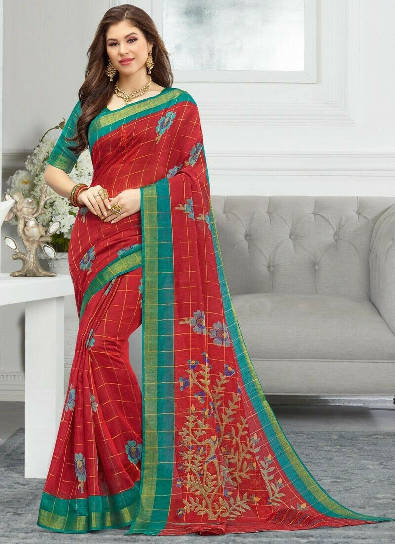 Maroon Women Wedding And Partywear Cotton Saree