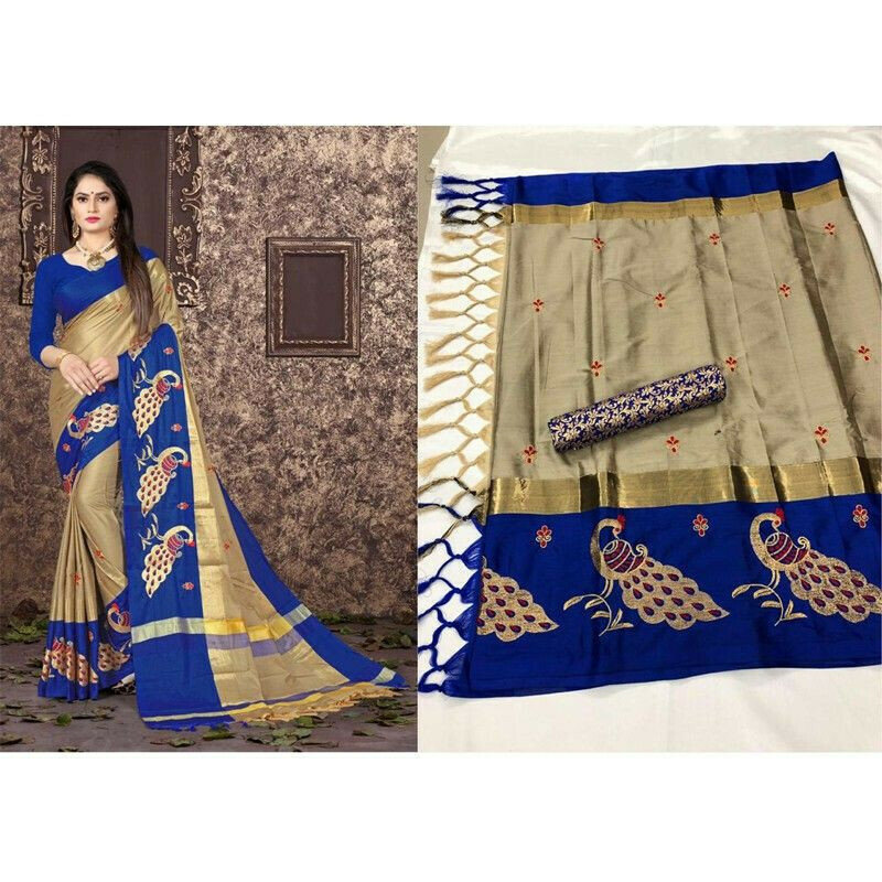 Marriage Special Blue Cotton Silk Saree