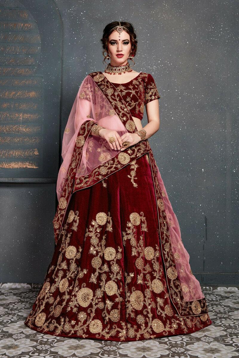 Marron Color Embroidery Work Lehenga Choli