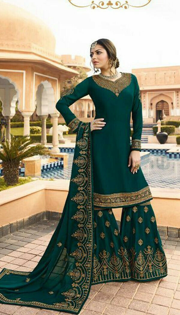 Marvellous Green Colored Silk Embroidary Work Sharara Suit