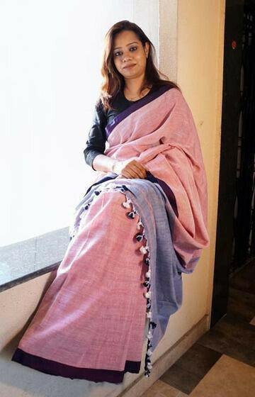 Marvelous Pink and Blue Color Linen Designer Digital Print Saree