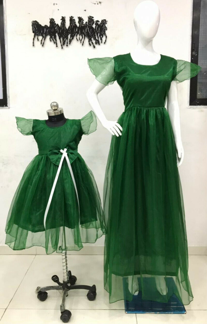Matching Dark Green Mom And Baby Girl Outfit