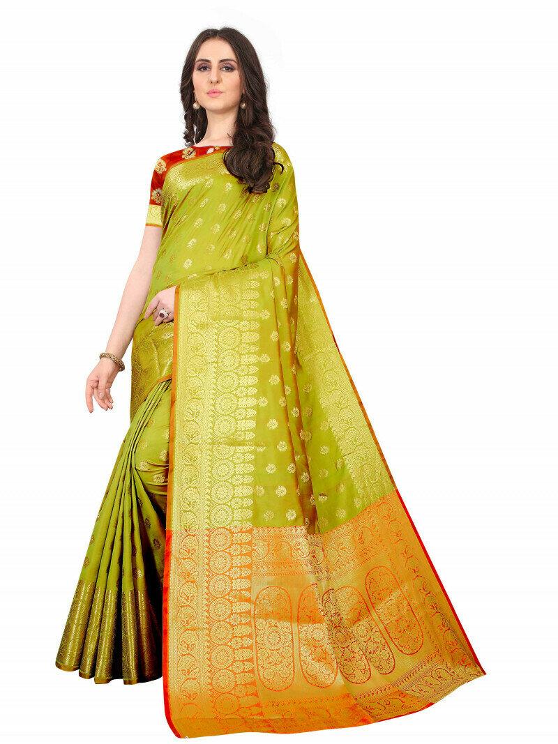 Mehndi Green Color Pure Jacquard Silk Designer Saree