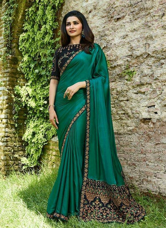 Mesmerising Green Colour Sana Silk Partywear Designer Saree