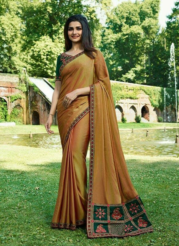 Mesmerising Orange Colour Sana Silk Partywear Designer Saree