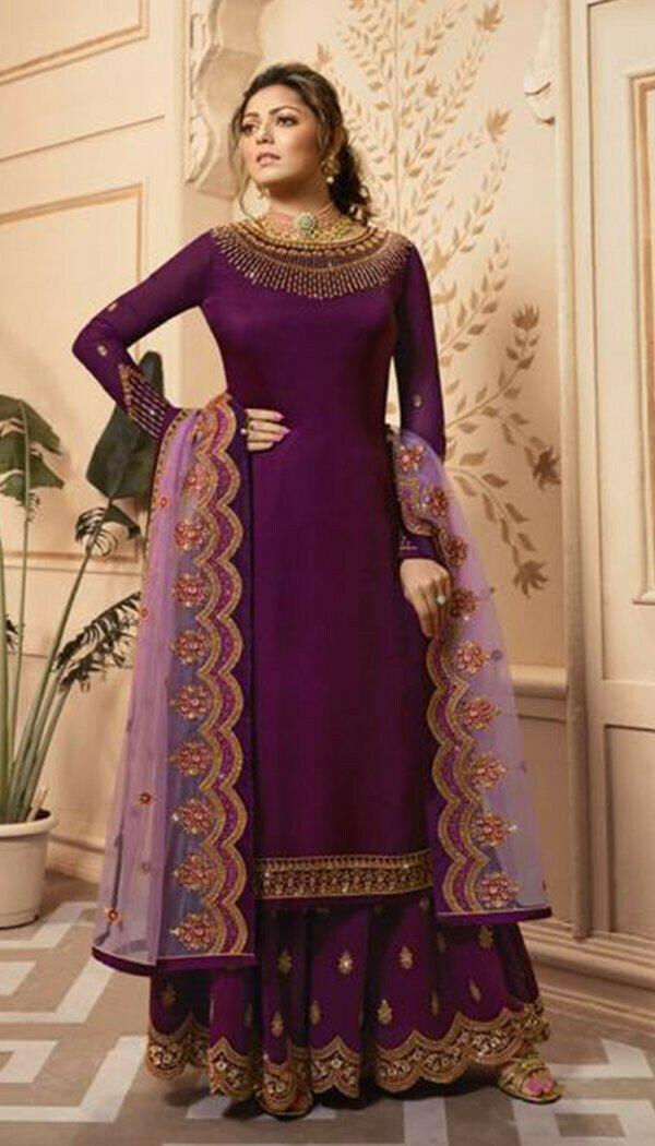 Mesmerising Purple Colored Silk Embroidary Work Plazzoo Salwar Suit