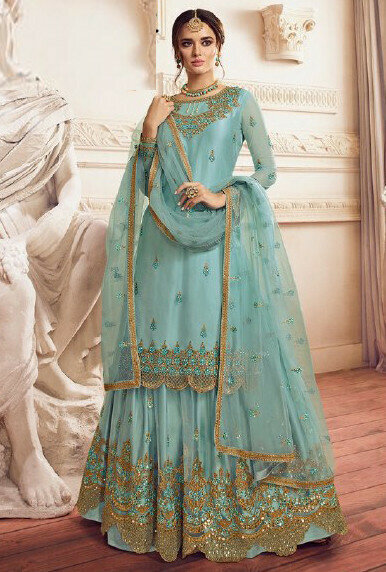 Meticulous Light Blue Color Sharara Suit