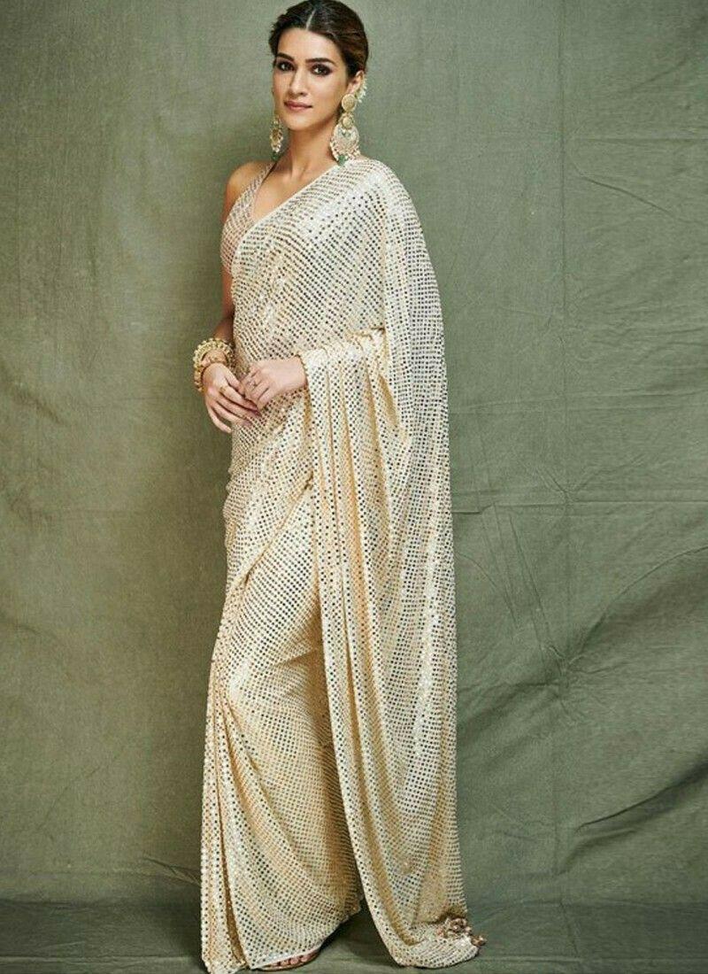 Milky White Color Bollywood Designer Saree