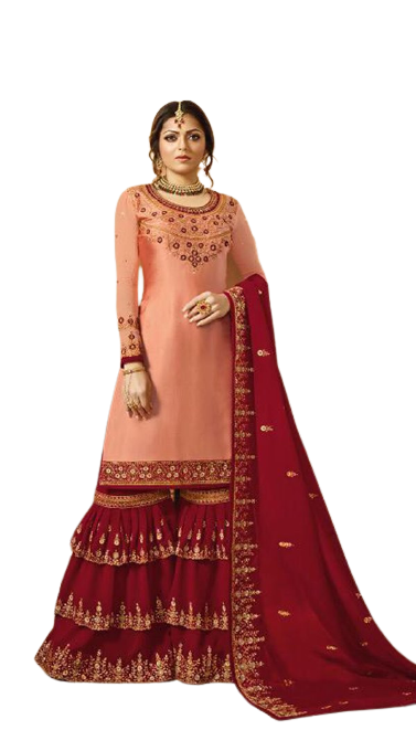 Mindblowing Pink Colored Silk Embroidary Work Sharara Suit
