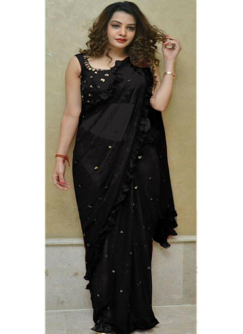 Most Demanded Black 60 Gm Georgette Fancy Thread Work Saree