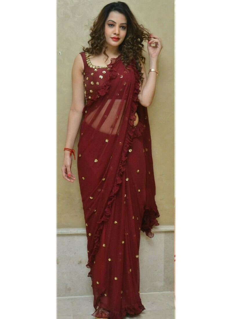 Most Demanded Maroon 60 Gm Georgette Fancy Thread Work Saree
