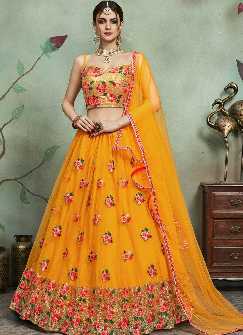 Most Demanded Mustard Designer Lehenga Choli In Soft Net Fabric