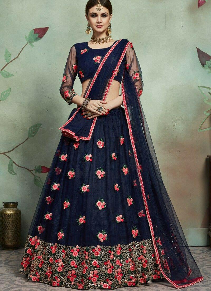 Most Demanded Navy Designer Lehenga Choli In Soft Net Fabric
