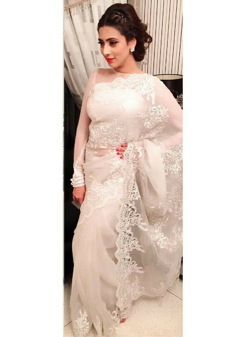 Most Demanded White Georgette Fancy Thread Work Saree