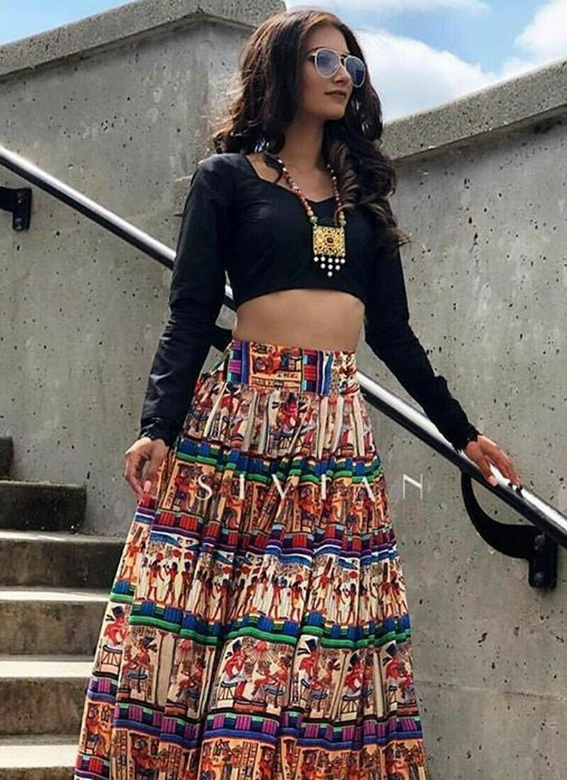 Most Popular Black Digital Printed Indian Lehenga Choli With Taffeta Fabric