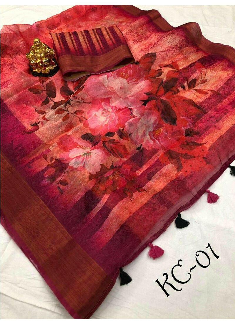 Multi Color Linen Saree For Wedding