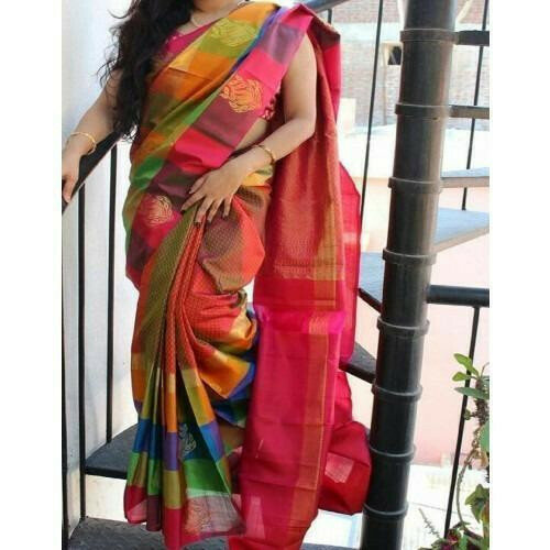 Multicolor Printed Zarna Silk Saree