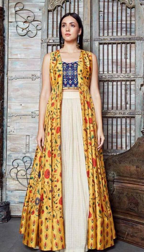 Nargis Yellow Shrug Indowestern* (Semi-Stitch)