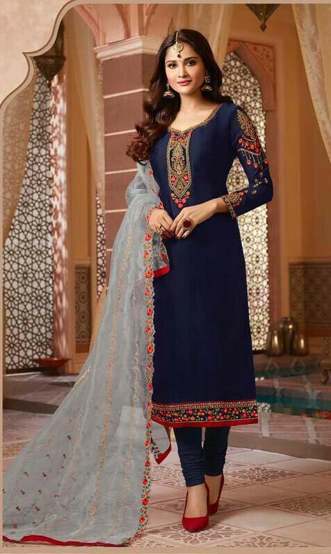 Navy Blue Color Party Wear Slwar Suit Online