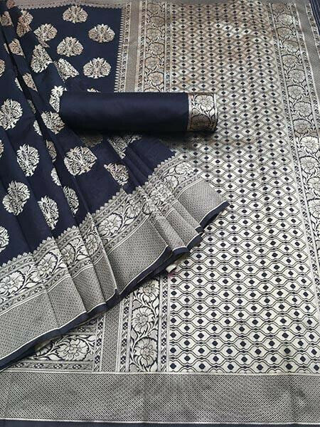 Navy Blue Colour Kora Silk With Jequard design Traditional Saree