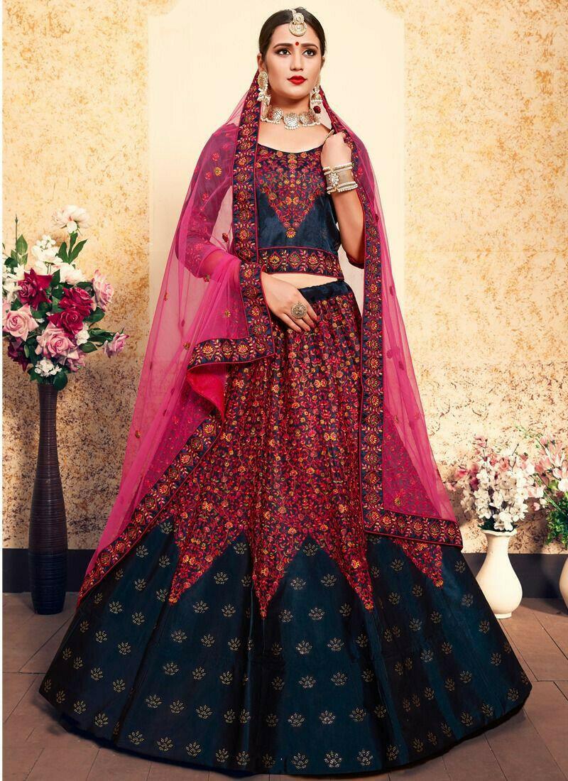 Navy Embroidered Designer Bridal Lehenga Choli