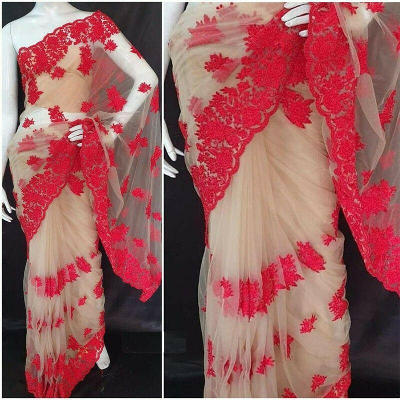 Naylon Net Red Designer Saree With Blouse Piece