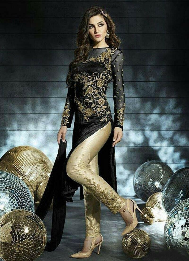 Net Fabric Black Designer Pant Style Suit