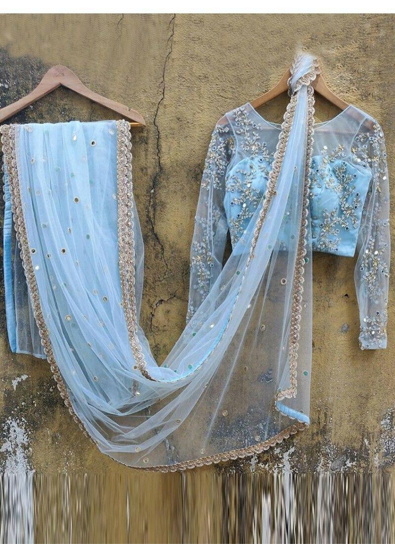New Arrival Butterfly Net Light Sky Blue Womens Saree