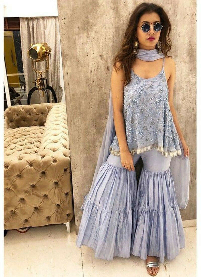 New Arrival Lavender Color Ladies Shara Suits