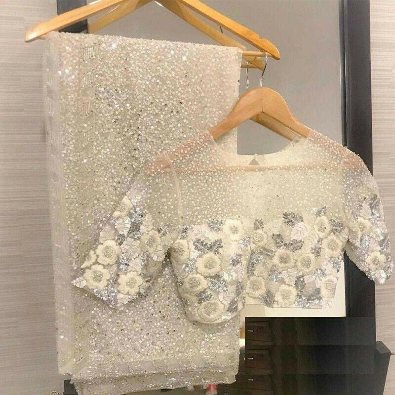 New Arrival Milky White Georgette Designer Saree