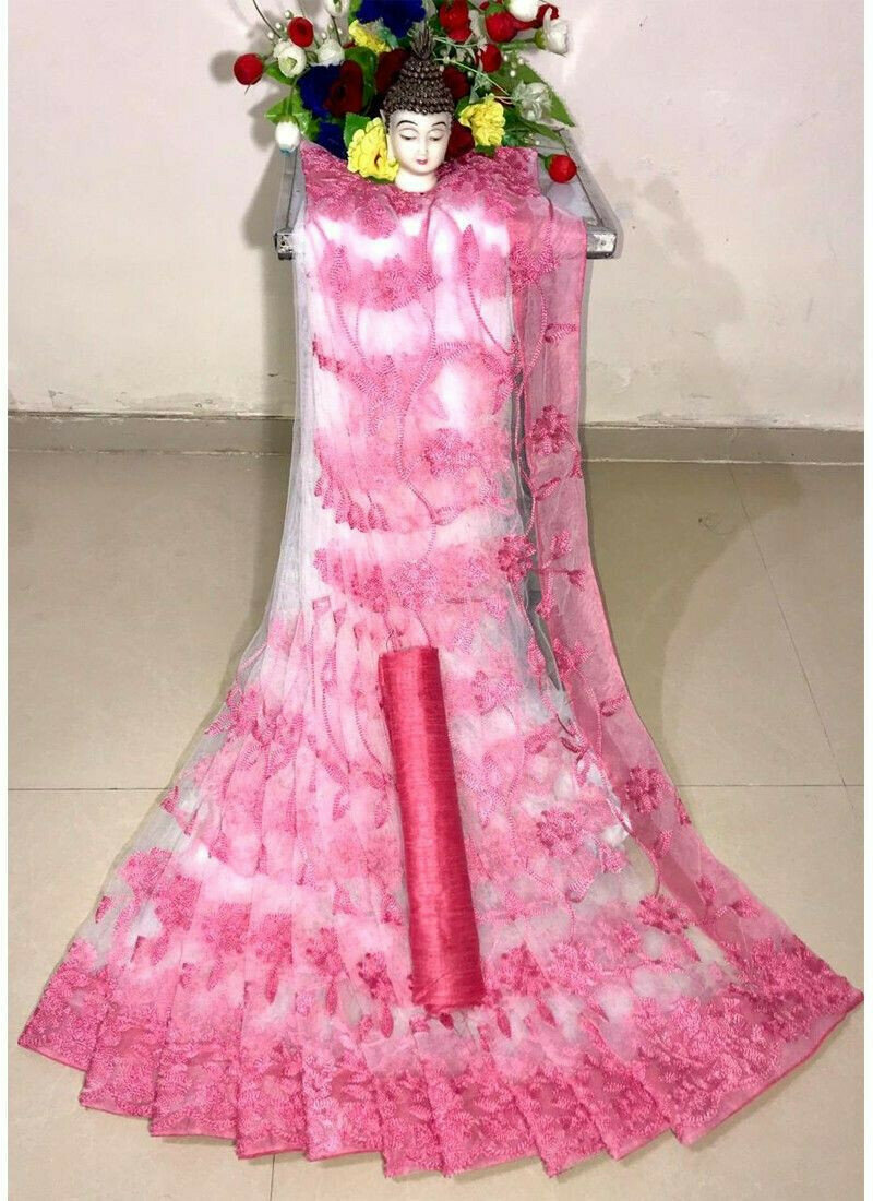 New Arrival Soft Net Baby Pink Designer Saree