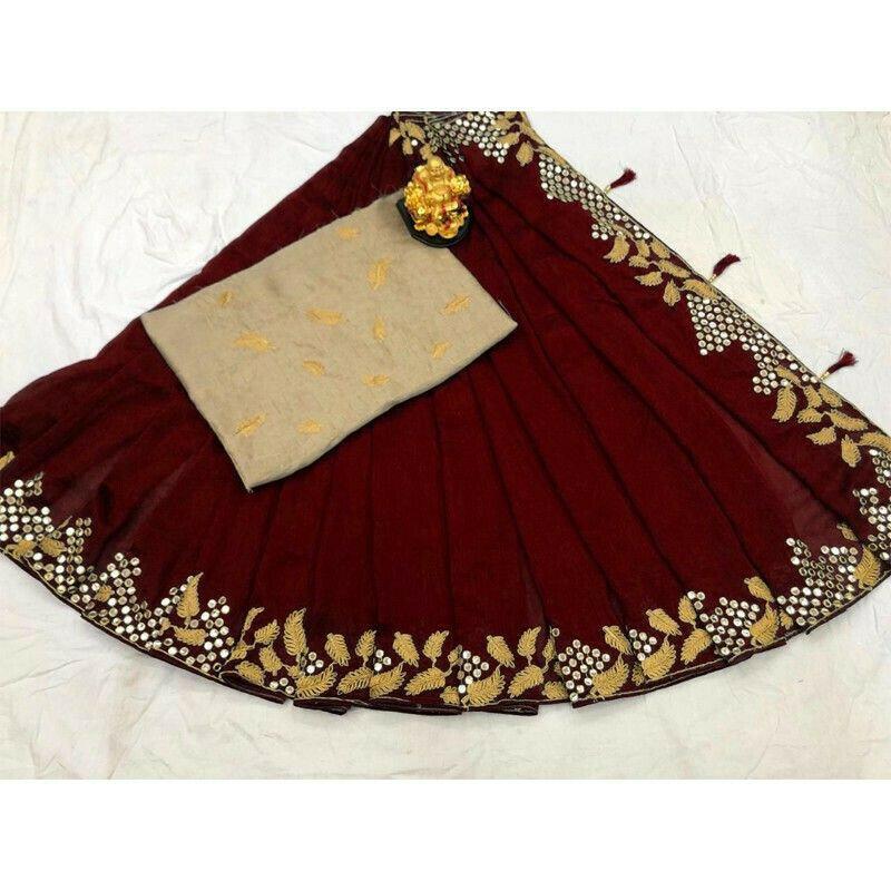 New Arrival Vichitra Silk Maroon Party Wear Designer Saree
