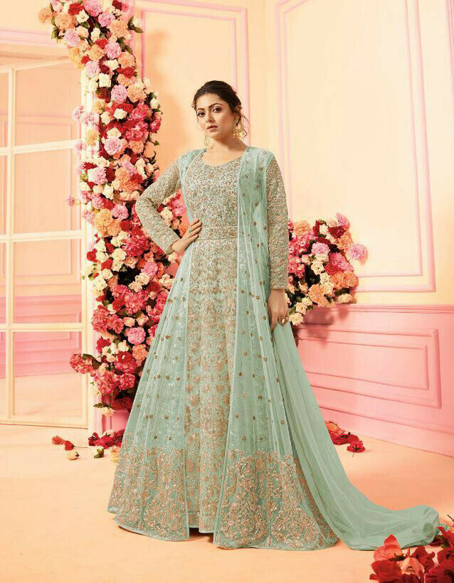 New Bollywood Pista Color Wedding Wear Heavy Net Suit Collaction