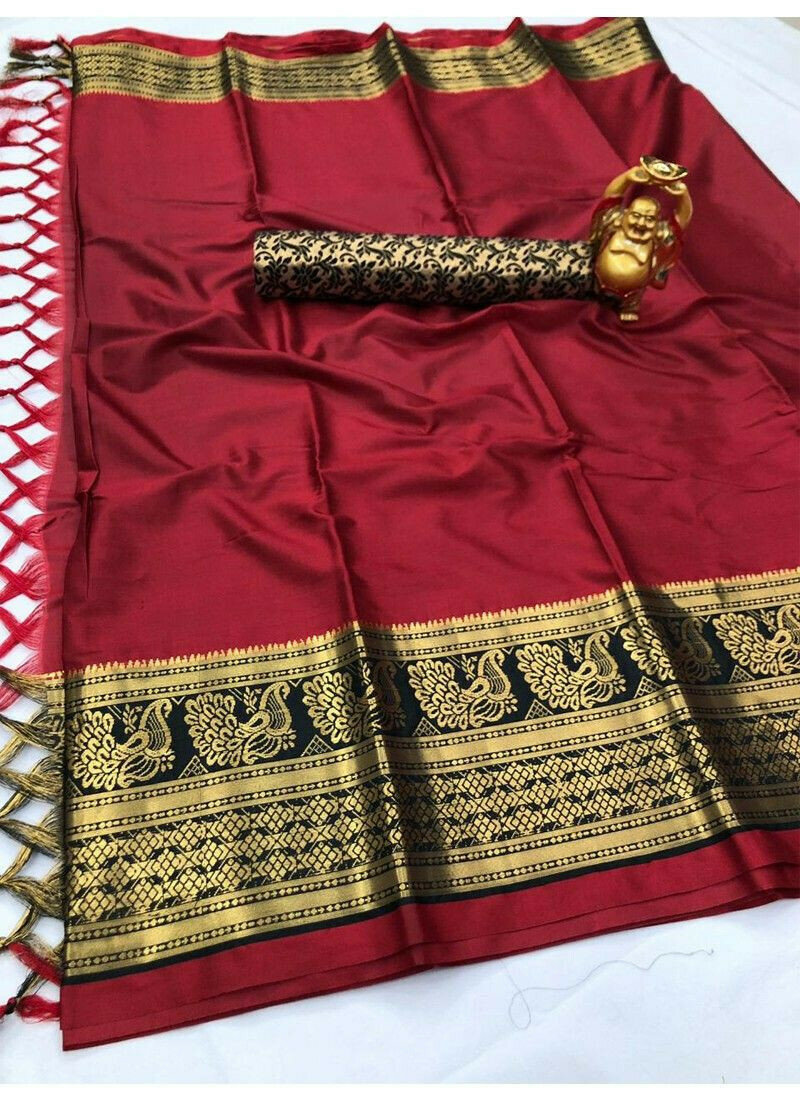 New Collection Maroon Cotton Silk Saree