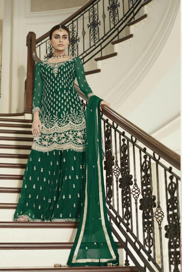 New Green Color Heavy Net Wedding Wear Palazzo Suit