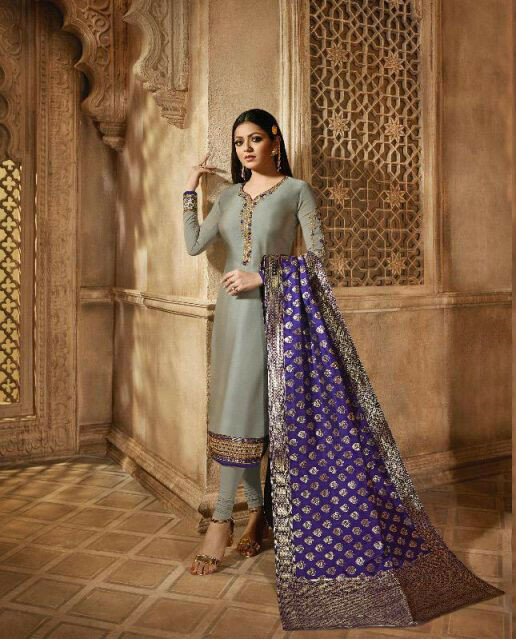 New Grey Colored Partywear Salwar Suit With Embroidery Work