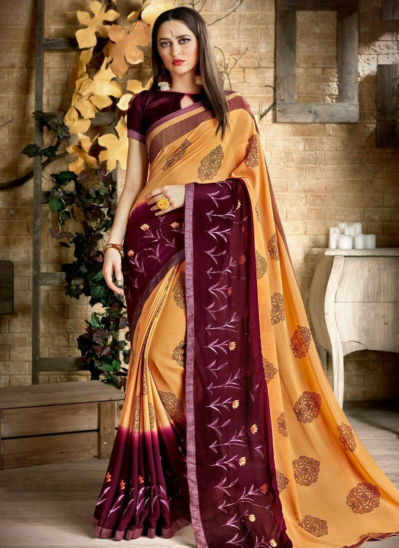 New Launching Georgette Yellow Classic Saree