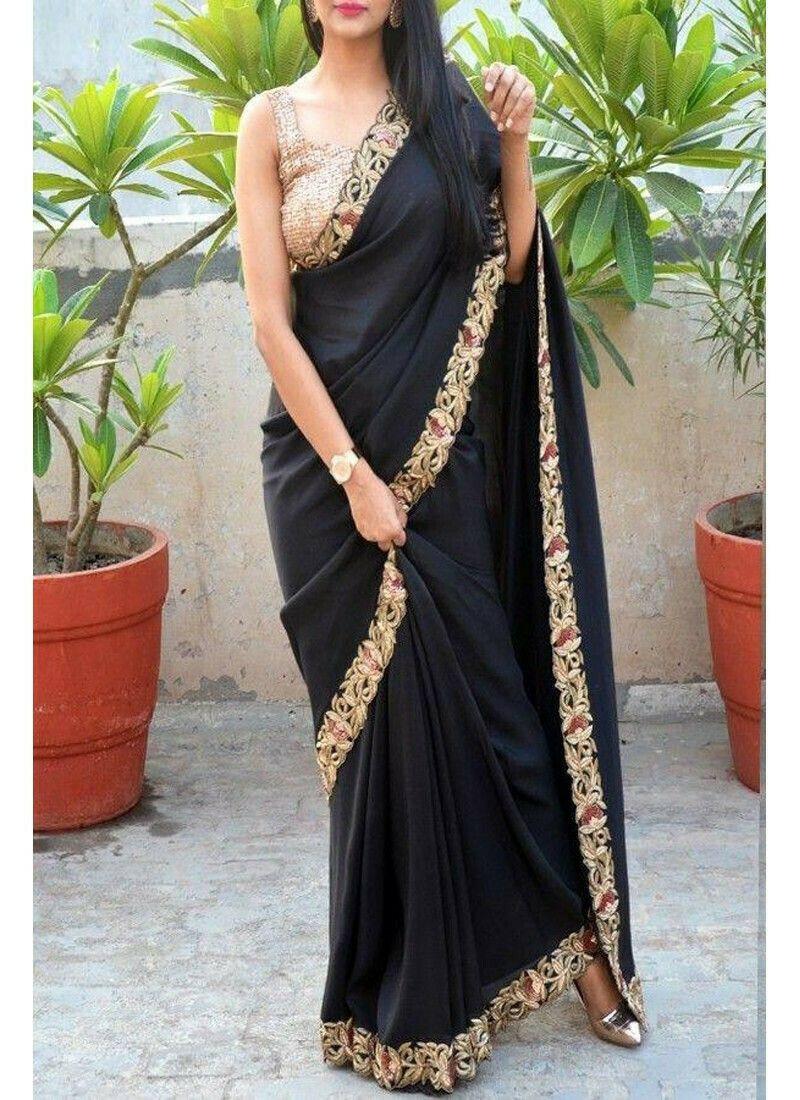 New Launching Superhit Designer Vichitra Silk Black Saree