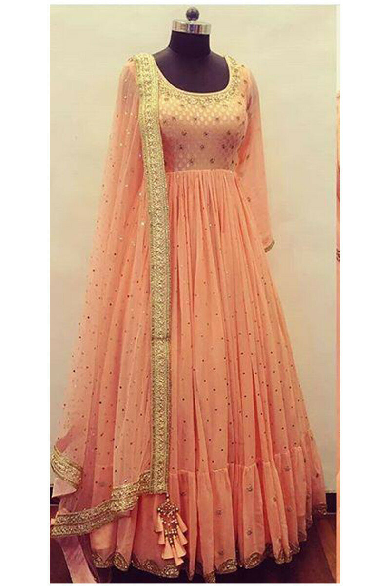 New Peach Color Georgette With Embroidery Work Salwar Suit