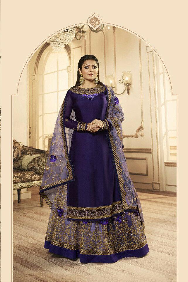 New Purple Color Georgette  Lehenga Top Design